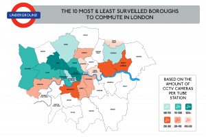 The 10 most and least surveilled boroughs to commute in London