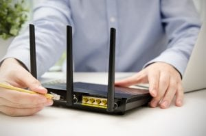 Ethernet cable in router for wireless broadband