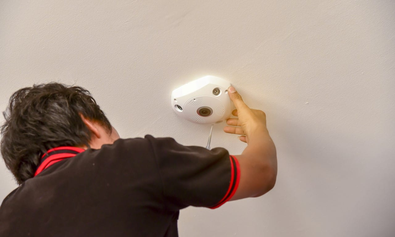 360 CCTV camera being installed