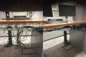 Before and after under desk cable tidy service
