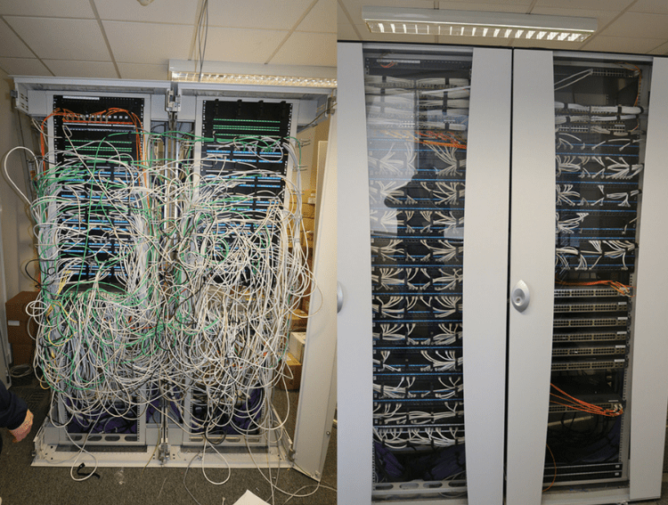 Data cabinet tidy before and after