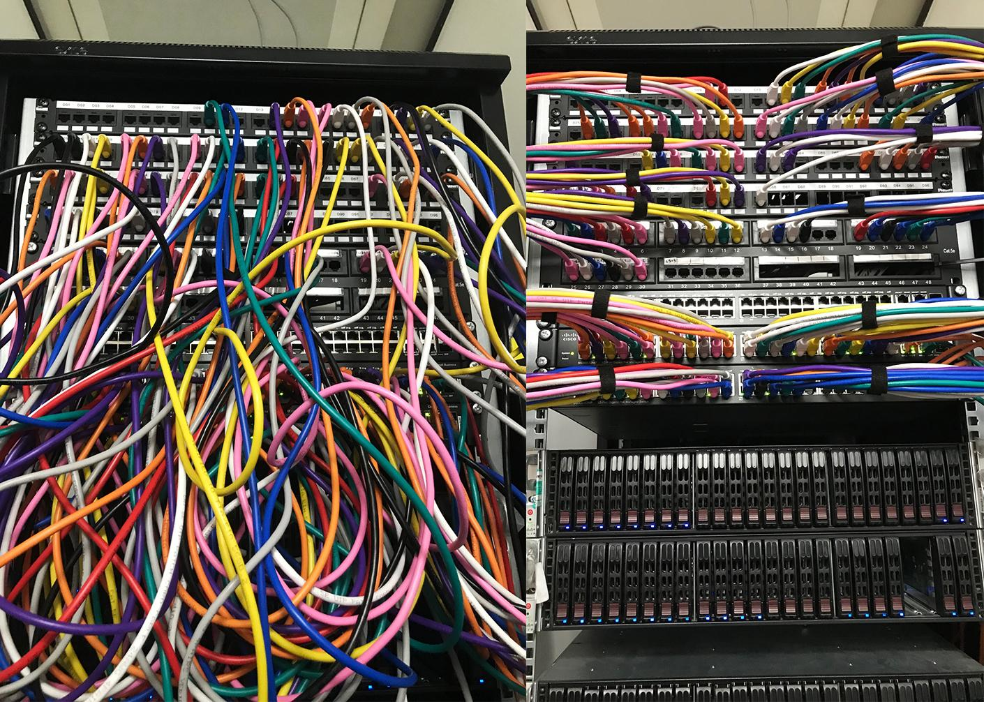 Data cabinet tidy, colour coded cables