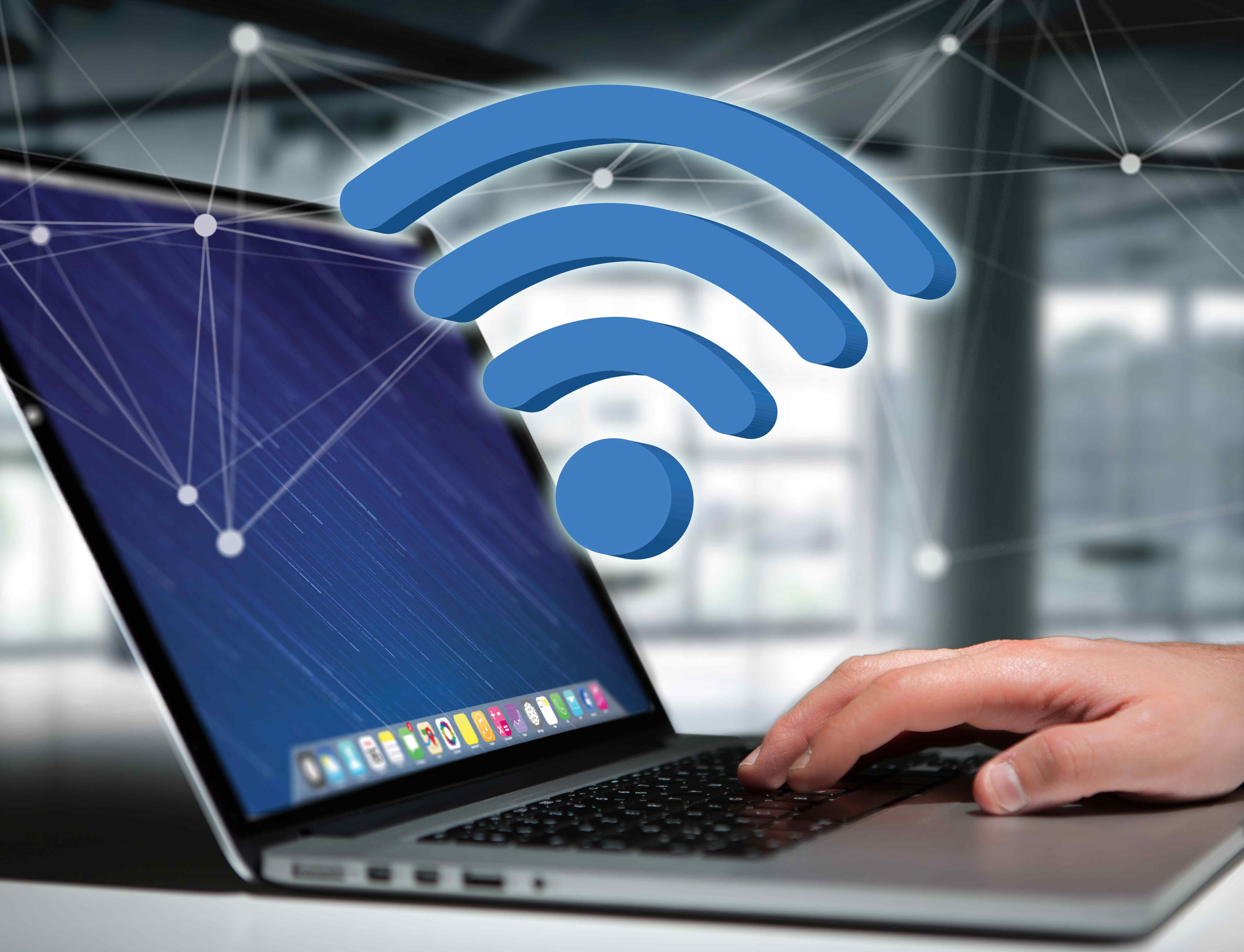 Laptop device connected to WiFi