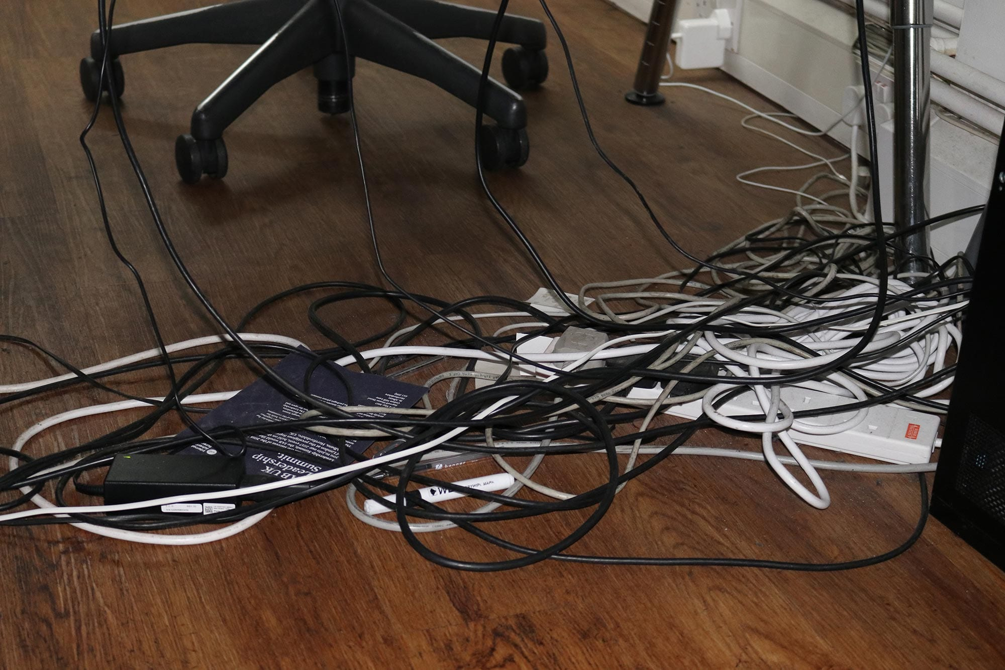 Under-desk-cable management